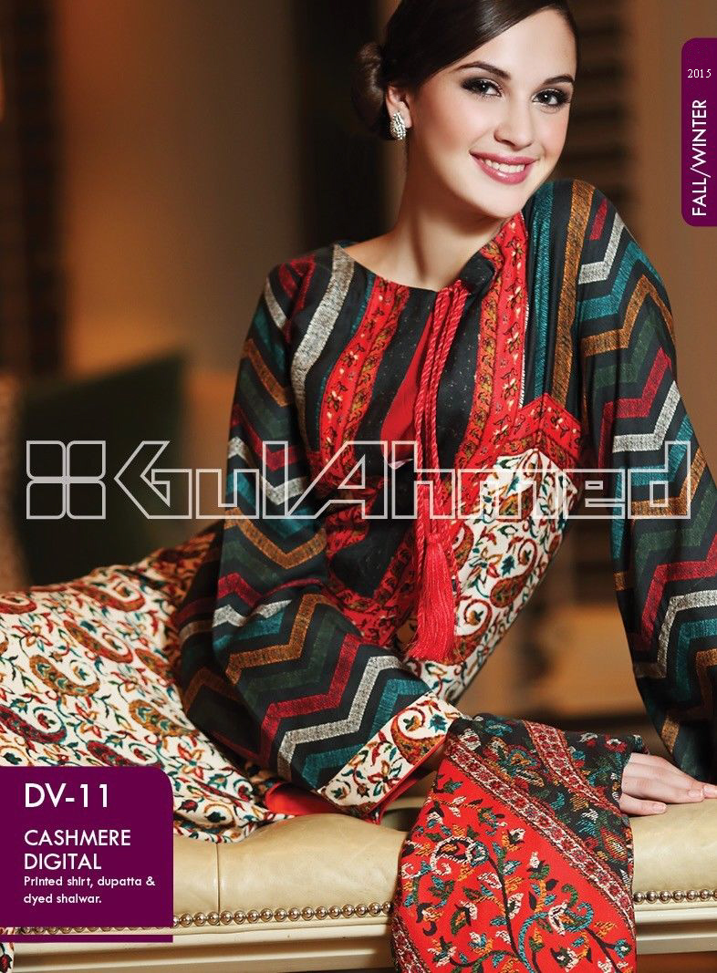 Gul Ahmed Printed Khaddar & Pashmina Shawl Suits Winter Collection 2014-2015 (6)