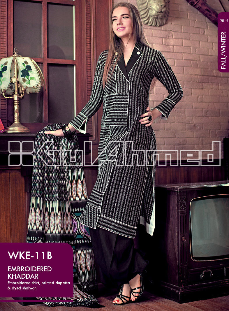 Gul Ahmed Printed Khaddar & Pashmina Shawl Suits Winter Collection 2014-2015 (7)