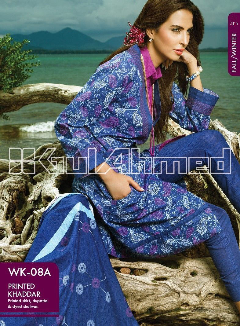 Gul Ahmed Printed Khaddar & Pashmina Shawl Suits Winter Collection 2014-2015 (9)