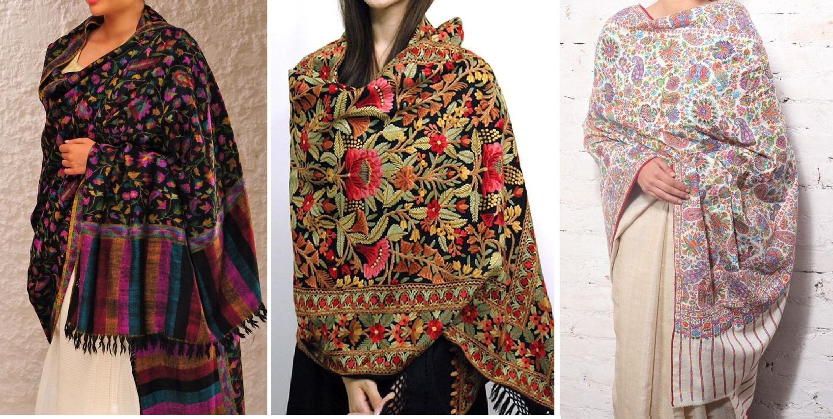 Beautiful Kashmiri Winter Shawls Designs Collection 2015