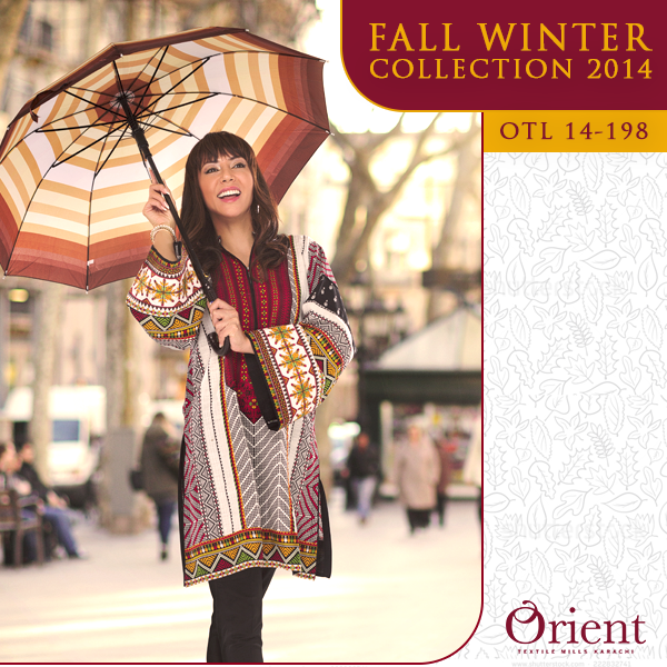Orient Textile Latest Fall Winter Trendy Shawl Dress Series for Women 2014-2015 (2)
