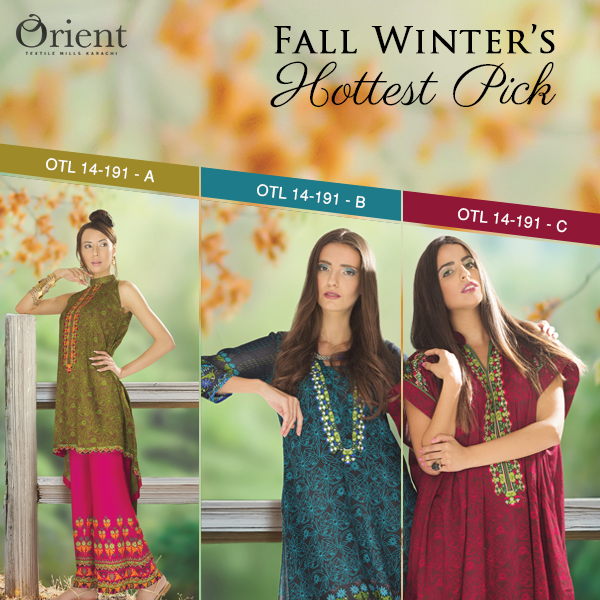 Orient Textile Latest Fall Winter Trendy Shawl Dress Series for Women 2014-2015 (8)