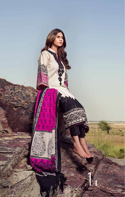 Sana Safinaz Latest Winter Shawls Collection Designer Ready Made Dresses for Women 2014-2015 (16)
