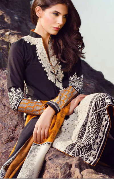 Sana Safinaz Latest Winter Shawls Collection Designer Ready Made Dresses for Women 2014-2015 (22)
