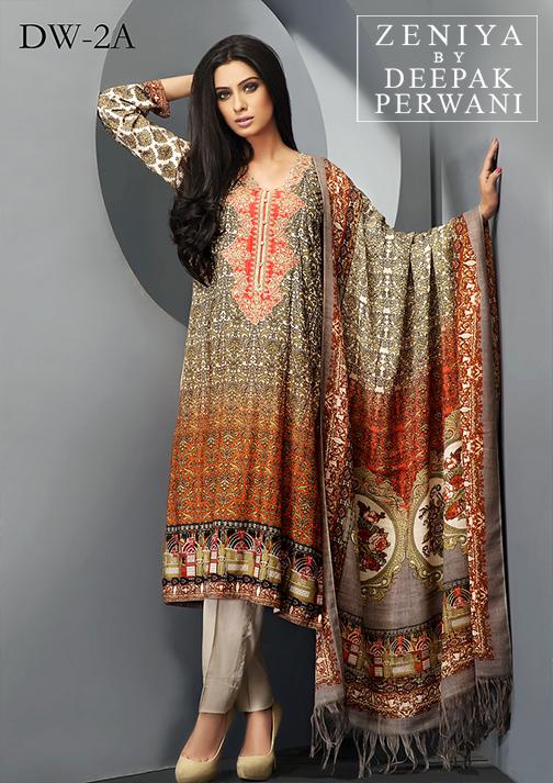 Zeniya By Deepak Perwani Latest Winter Shawl dresses Collection for Women 2014-2015 (15)