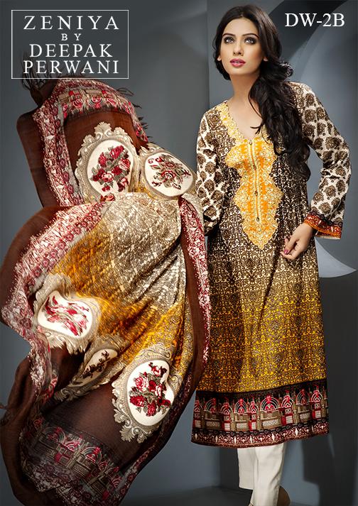 Zeniya By Deepak Perwani Latest Winter Shawl dresses Collection for Women 2014-2015 (23)
