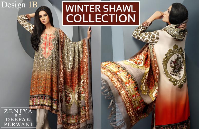 Zeniya By Deepak Perwani Latest Winter Shawl dresses Collection for Women 2014-2015 (5)