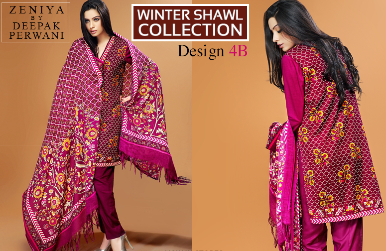 Zeniya Lawn By Deepak Perwani Winter Shawl Collection 2019