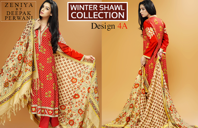 Zeniya By Deepak Perwani Latest Winter Shawl dresses Collection for Women 2014-2015 (9)
