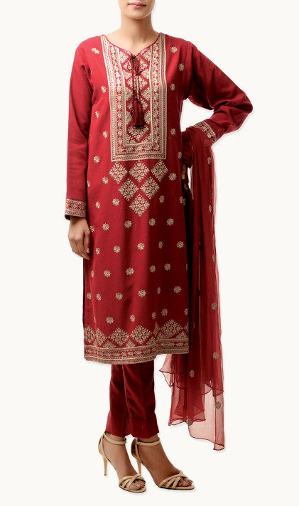 Bareeze Latest Winter Trendy Embroidered Dress Designs Classic Collection 2014-2015 (22)