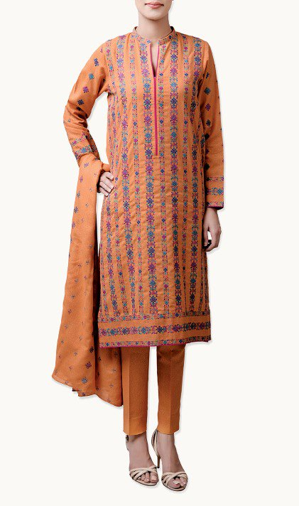 Bareeze Latest Winter Trendy Embroidered Dress Designs Classic Collection 2014-2015 (31)