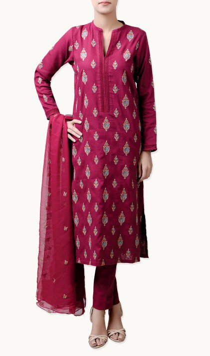 Bareeze Latest Winter Trendy Embroidered Dress Designs Classic Collection 2014-2015 (32)