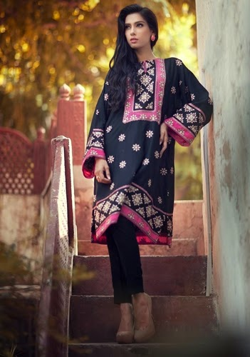 Bareeze Latest Winter Trendy Embroidered Dress Designs Classic Collection 2014-2015 (7)