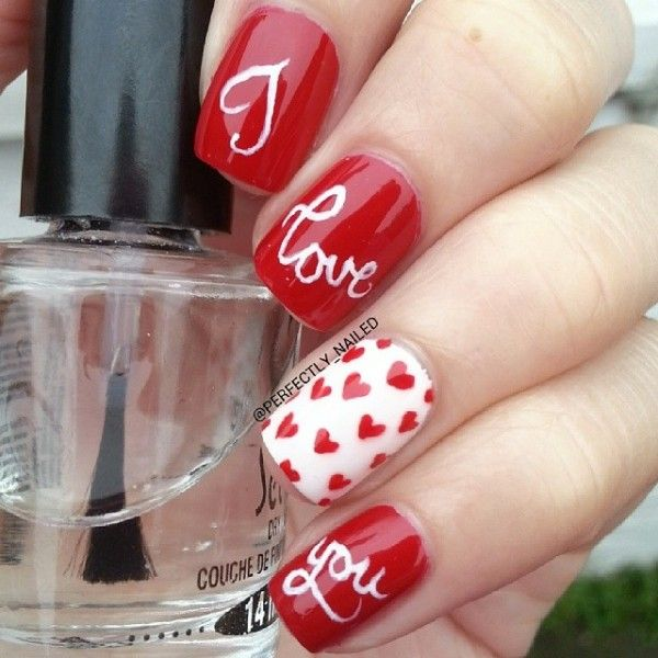 LOVE ON THE LINE XOXO KISSES & HUGGS - romantic nail art designsBest & Beautiful Nail Art Designs & Ideas to Spice up your Valentines Day (5)
