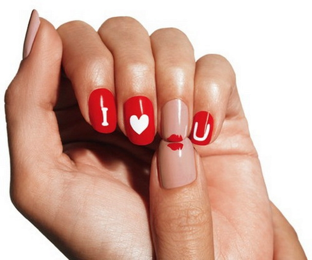 LOVE ON THE LINE XOXO KISSES & HUGGS - romantic nail art designsBest & Beautiful Nail Art Designs & Ideas to Spice up your Valentines Day (6)