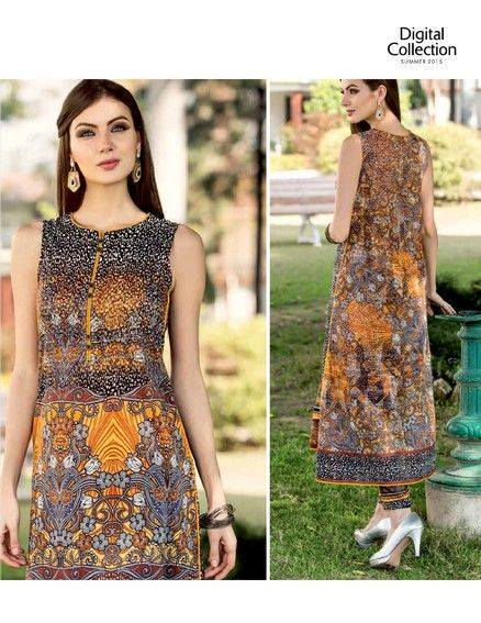 5 Star Textiles Summer Lawn Chiffon Dresses Digital Printed Collection 2015 (10)