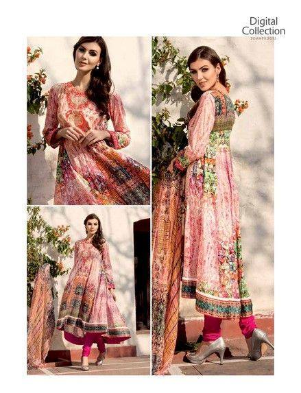 5 Star Textiles Summer Lawn Chiffon Dresses Digital Printed Collection 2015 (12)
