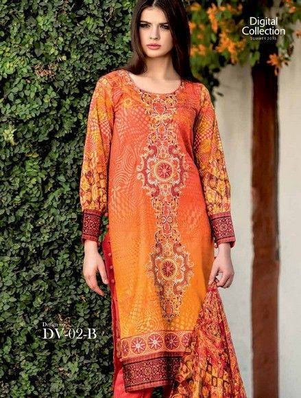 5 Star Textiles Summer Lawn Chiffon Dresses Digital Printed Collection 2015 (13)