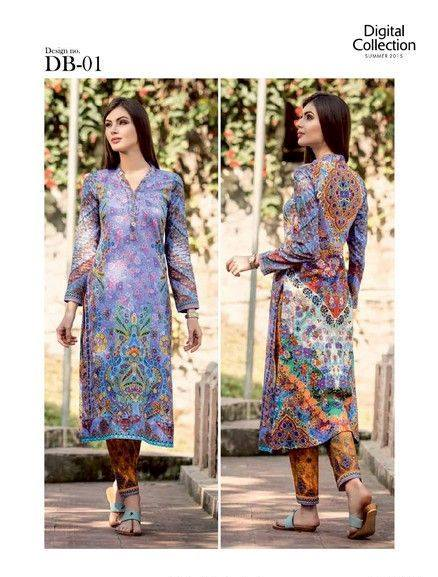 5 Star Textiles Summer Lawn Chiffon Dresses Digital Printed Collection 2015 (14)
