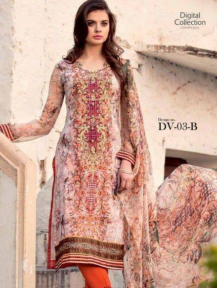 5 Star Textiles Summer Lawn Chiffon Dresses Digital Printed Collection 2015 (17)