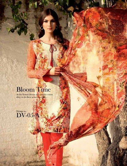 5 Star Textiles Summer Lawn Chiffon Dresses Digital Printed Collection 2015 (20)