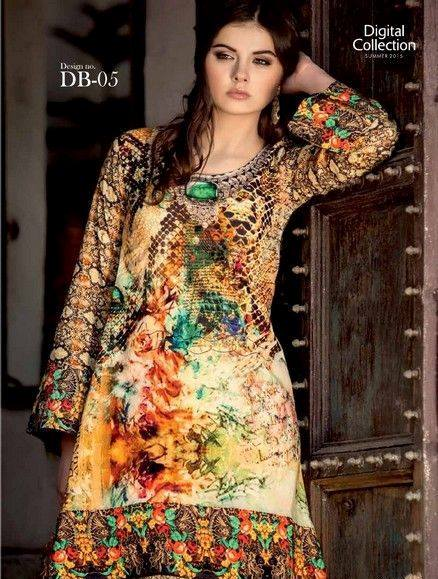 5 Star Textiles Summer Lawn Chiffon Dresses Digital Printed Collection 2015 (22)