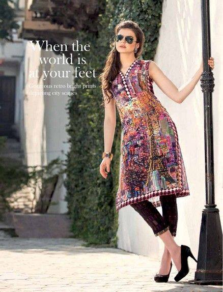 5 Star Textiles Summer Lawn Chiffon Dresses Digital Printed Collection 2015 (26)