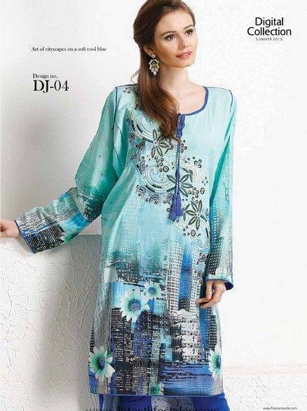 5 Star Textiles Summer Lawn Chiffon Dresses Digital Printed Collection 2015 (3)