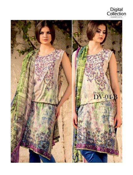 5 Star Textiles Summer Lawn Chiffon Dresses Digital Printed Collection 2015 (30)