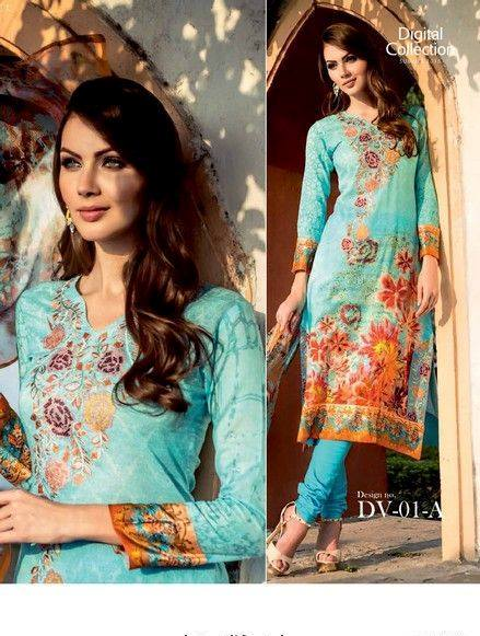 5 Star Textiles Summer Lawn Chiffon Dresses Digital Printed Collection 2015 (6)