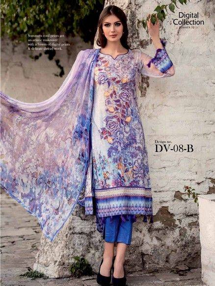 5 Star Textiles Summer Lawn Chiffon Dresses Digital Printed Collection 2015 (7)