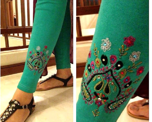 Latest Collection of Printed Embroidered Ladies Tights, Capri Pants & Leggings Designs 2015-2016 (19)