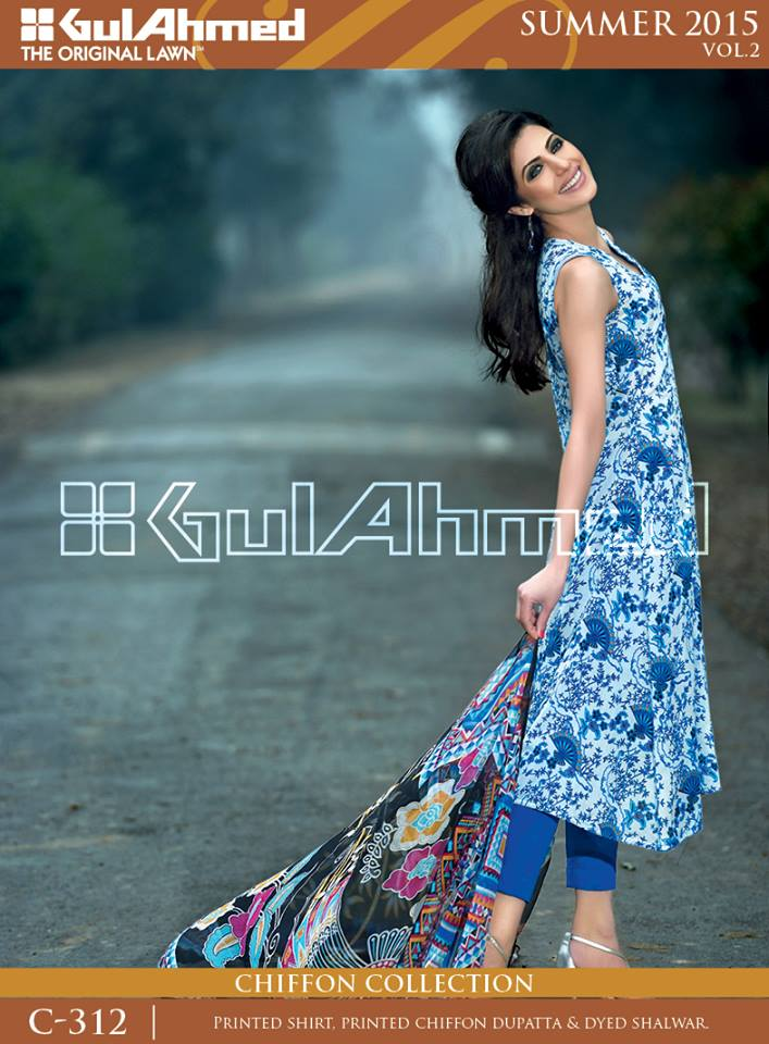 Gul Ahmed The Original Lawn Summer Lawn Chiffon Dresses Collection 2015-2016 (16)