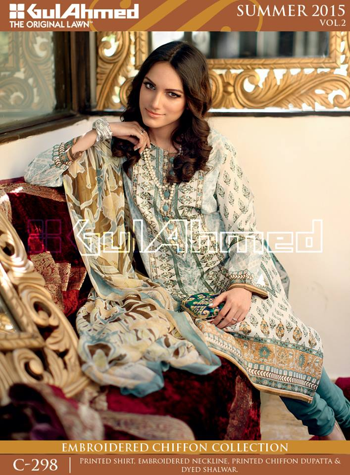 Gul Ahmed The Original Lawn Summer Lawn Chiffon Dresses Collection 2015-2016 (18)