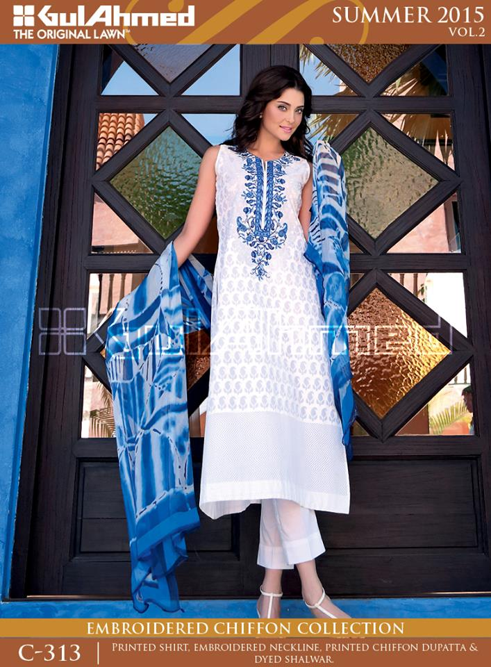 Gul Ahmed The Original Lawn Summer Lawn Chiffon Dresses Collection 2015-2016 (2)