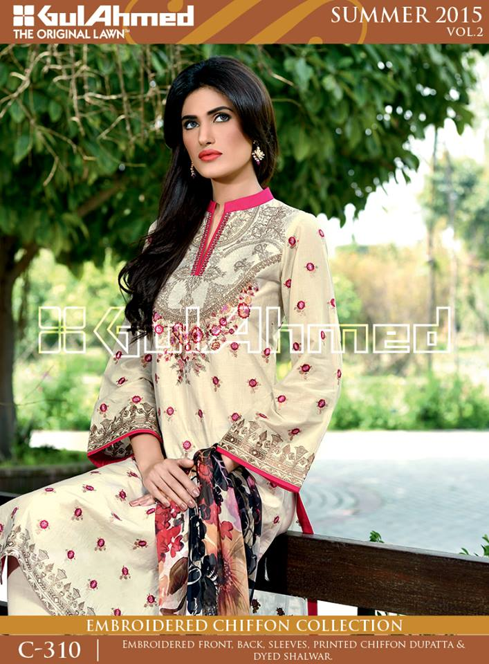 Gul Ahmed The Original Lawn Summer Lawn Chiffon Dresses Collection 2015-2016 (22)