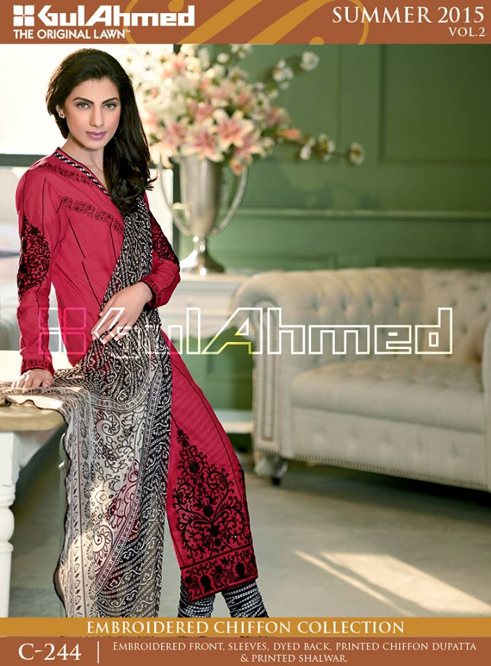Gul Ahmed The Original Lawn Summer Lawn Chiffon Dresses Collection 2015-2016 (5)