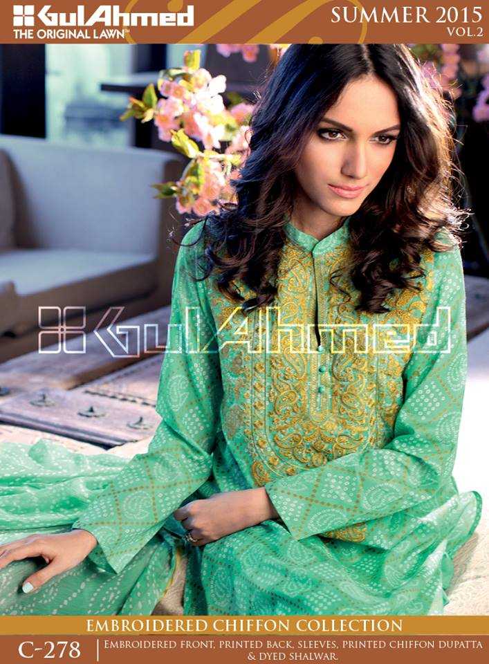Gul Ahmed The Original Lawn Summer Lawn Chiffon Dresses Collection 2015-2016 (8)