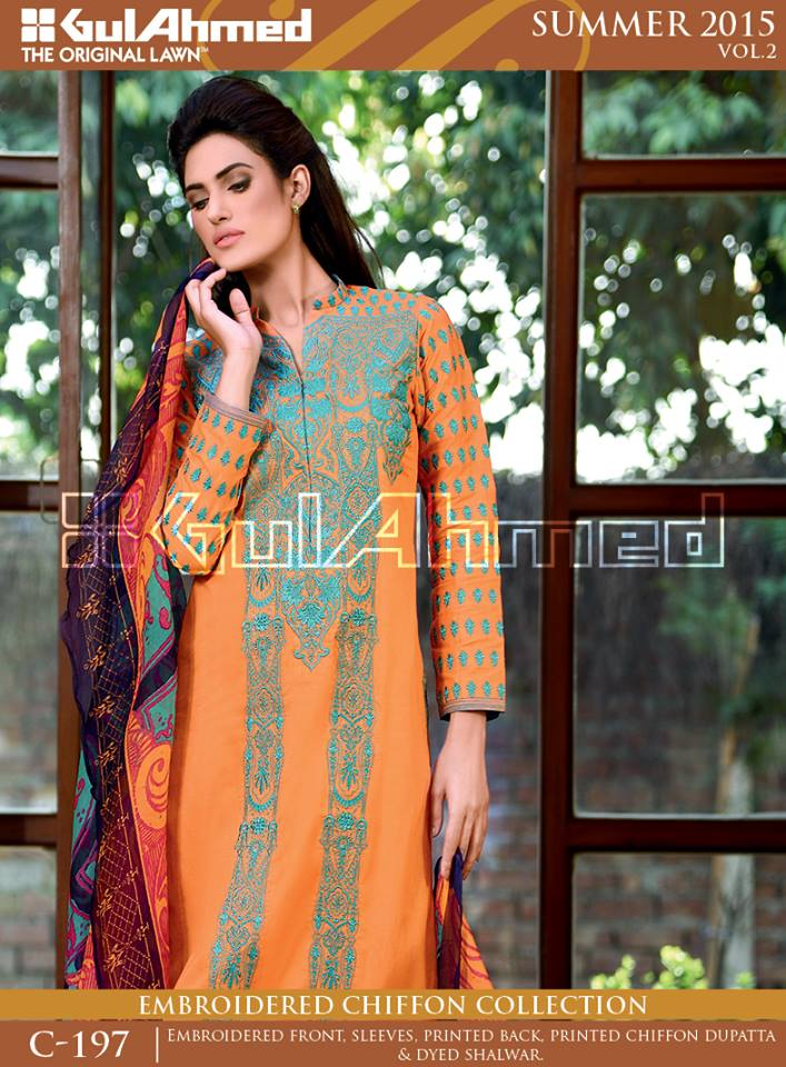 Gul Ahmed The Original Lawn Summer Lawn Chiffon Dresses Collection 2015-2016 (9)