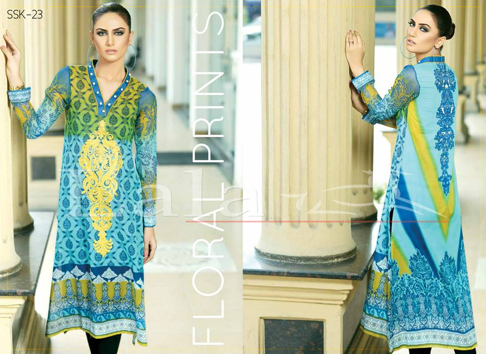 Lala Textiles Embroidered lawn Dresses Kurtis Summer Spring collection 2015-2016 (16)