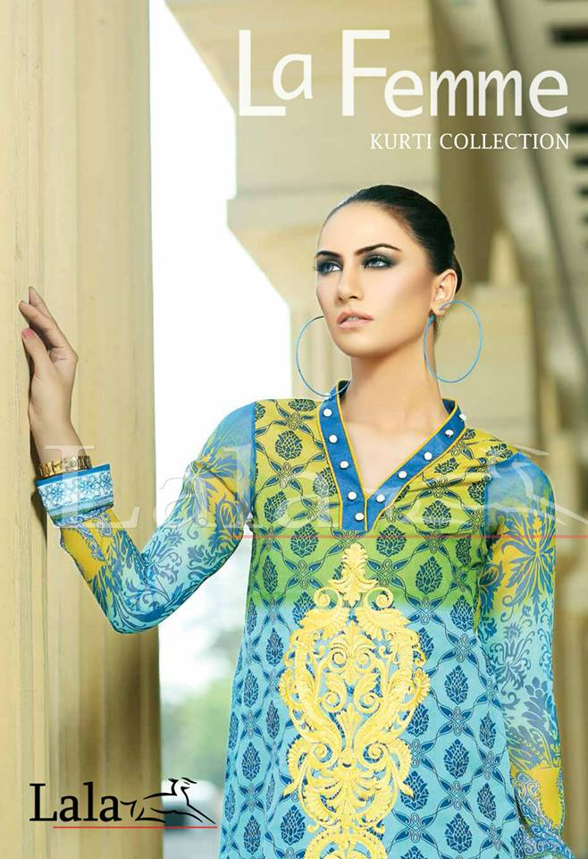 Lala Textiles Embroidered lawn Dresses Kurtis Summer Spring collection 2015-2016 (5)