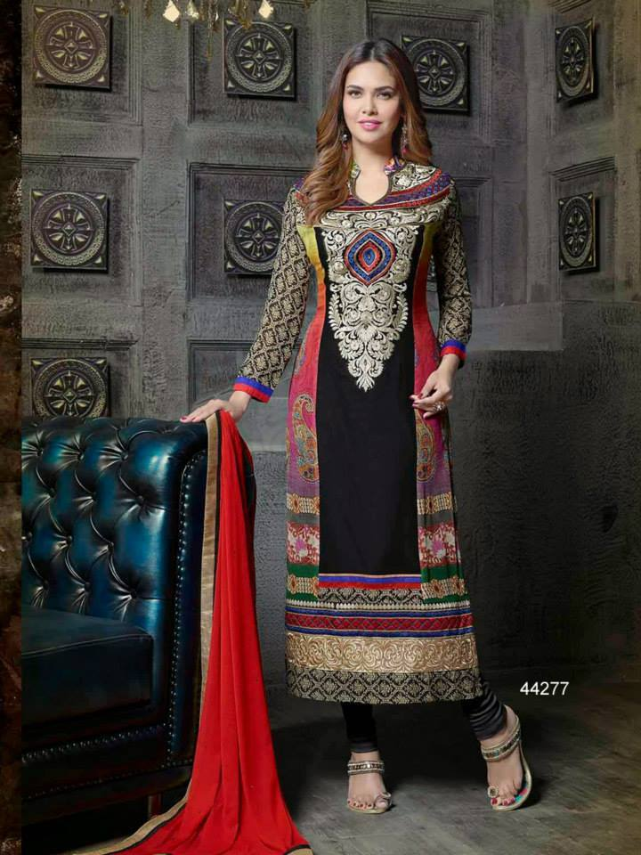 Pakistani & Indian Straight Cut Salwar Suits Designs Latest Collection 2015-2016 (10)