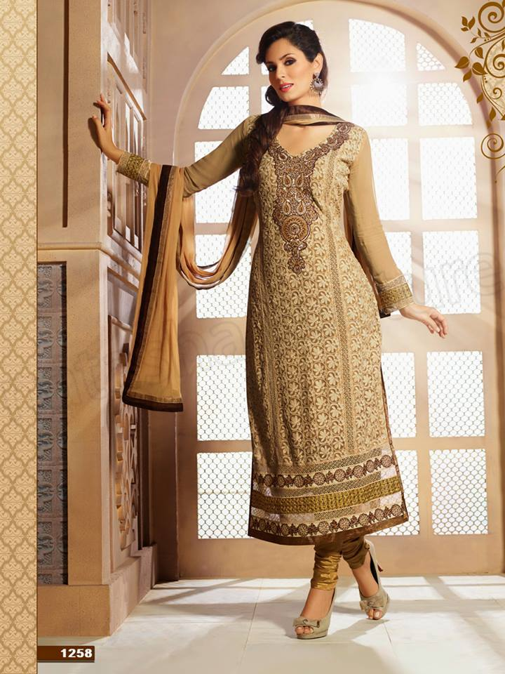 Pakistani & Indian Straight Cut Salwar Suits Designs Latest Collection 2015-2016 (15)