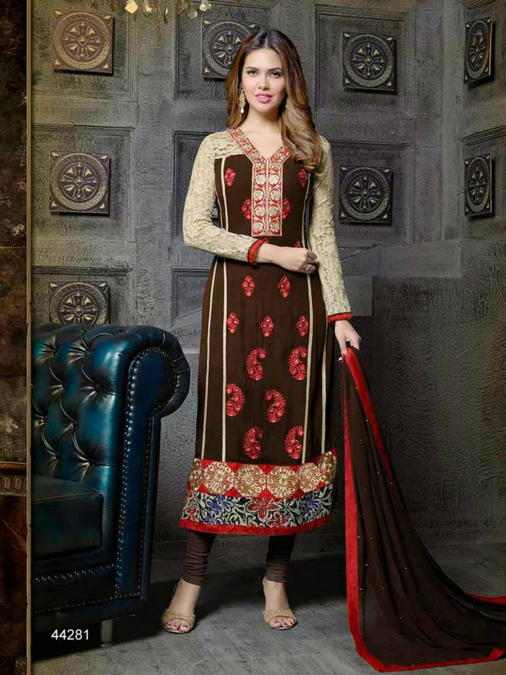 Pakistani & Indian Straight Cut Salwar Suits Designs Latest Collection 2015-2016 (16)