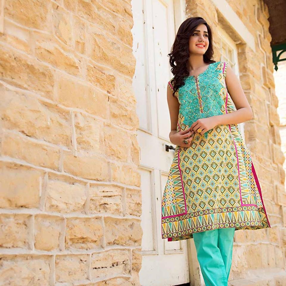 Summer lawn kurti trends collection 2015-2016 (7)