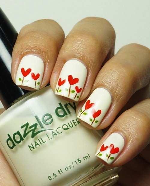 Floral Tulip Nail Arts for Christmas (1)