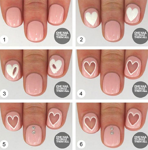 Heart Shape Nail Arts
