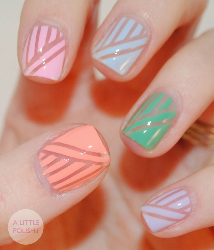 Lines and Polka Dot Nail Arts (2)