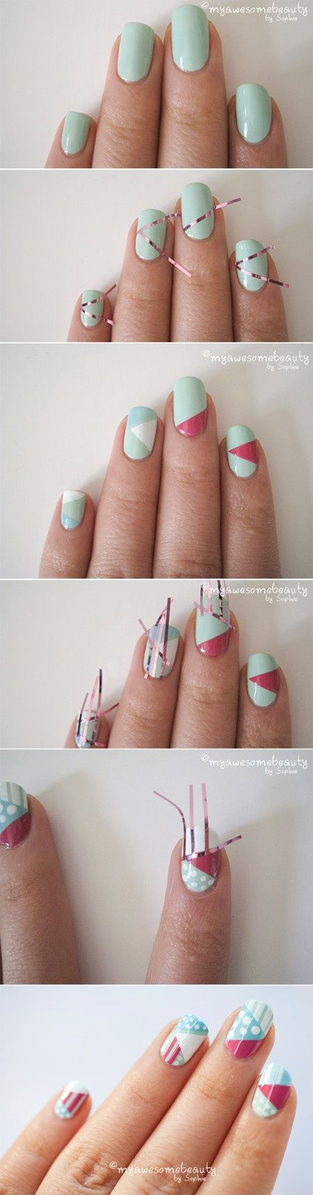 Lines and Polka Dot Nail Arts (6)