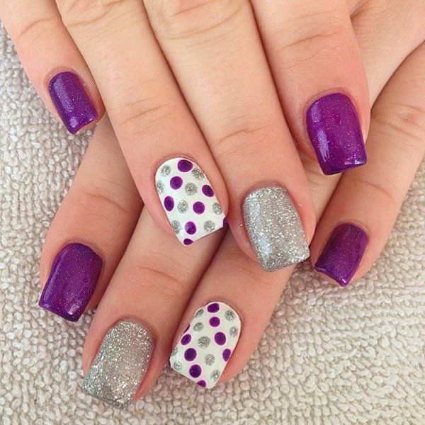 Lines and Polka Dot Nail Arts (7)